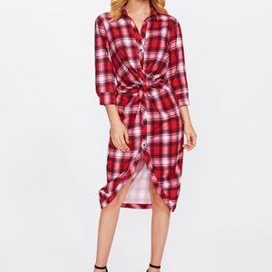 ZARA Twist Front Plaid Shirt Dress
